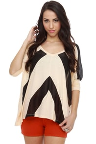 Beyond Lucid Cream Striped Top