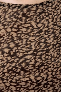 THML Artist Reception Brown and Red Print Dress