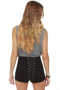 Tripp NYC High-Waisted Black Corset Shorts at Lulus.com!