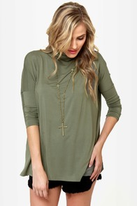 Heroes in a Half Shell Army Green Turtleneck Top at Lulus.com!