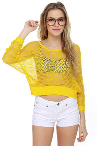 Honeycomb, I'm Home! Yellow Sweater Top at Lulus.com!