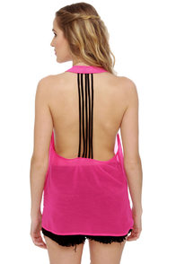 Line it Up Sheer Fuchsia Tank Top at Lulus.com!