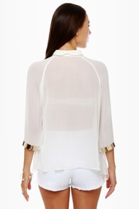 Metal Detector White Button-Up Top