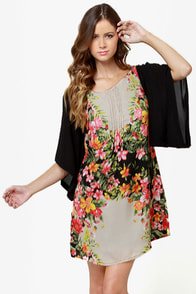 Ticket to Paradise Floral Print Kimono Dress