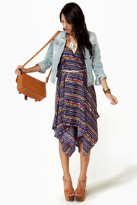 Volcom Peer Pressure Blue Print Dress at Lulus.com!