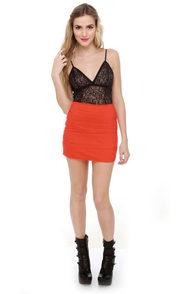 Volcom Frochickie Orange Mini Skirt