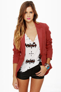 Volcom Zip It Rust Red Corduroy Blazer at Lulus.com!