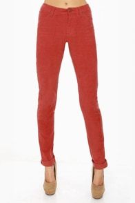 Volcom Sound Check Rust Red Corduroy Skinny Pants