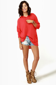 Volcom Voices Carry Hooded Coral Red Sweater at Lulus.com!