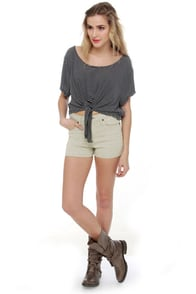Volcom What the Twill Beige Jean Shorts