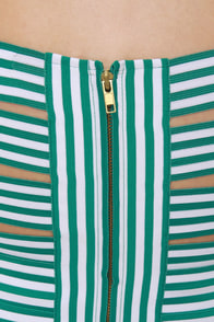 Beauty and the Beach Striped Green Bandage Dress at Lulus.com!