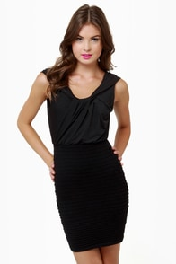 Drape Me a Line Black Dress at Lulus.com!