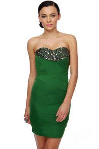 Blarney Castle Strapless Green Dress