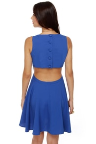 Take Me Back Cutout Blue Dress at Lulus.com!