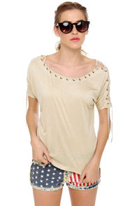 Major Lacer Short Sleeve Beige Top at Lulus.com!