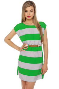 Shipwrecked Green Striped Dress at Lulus.com!