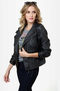 Black Sheep Heart Black Vegan Leather Moto Jacket at Lulus.com!