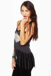 Black Sheep Om Grey Fringe Tank Top at Lulus.com!