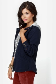 Lost Ringo Navy Blue Hooded Jacket at Lulus.com!