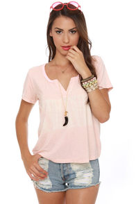Black Sheep Bohemian Distressed Pink Top