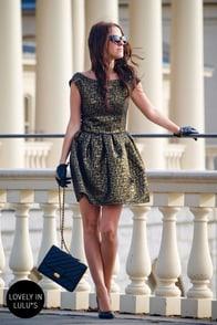 Gold Fleck-tacular Brocade Dress at Lulus.com!