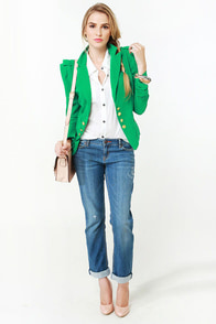 Cash Cropped Green Jacket at Lulus.com!