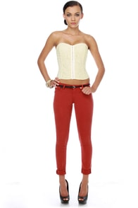 Parchment Poetry Ivory Lace Bustier Top