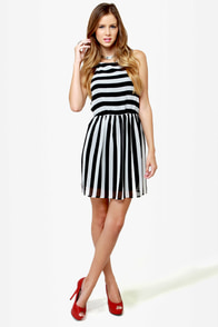 The Right Stripes Black and White Striped Dress at Lulus.com!