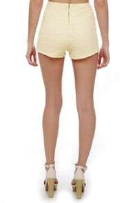 Hot Prance High-Waisted Cream Lace Shorts at Lulus.com!
