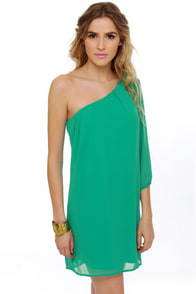 C'mon Get Happy One Shoulder Teal Dress at Lulus.com!