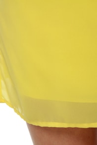 C\\\'mon Get Happy One Shoulder Yellow Dress