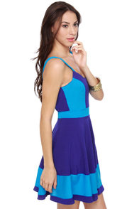Pool Party Color Block Blue Dress at Lulus.com!