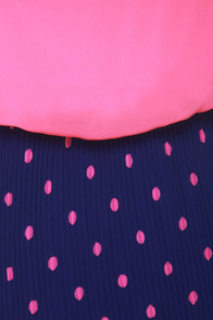Hits the Spot Blue and Pink Polka Dot Dress at Lulus.com!
