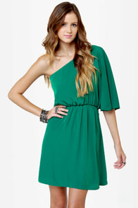 Plantation Tour Green One Shoulder Dress