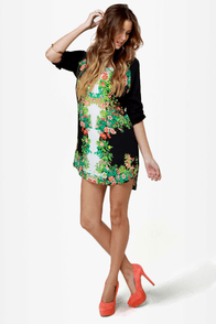 Botany Books Black Floral Print Dress at Lulus.com!