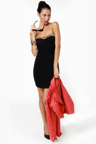 Stud-y Up Strapless Black Dress