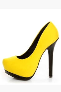 Dollhouse Dulce Yellow Lycra and Patent Platform Pumps