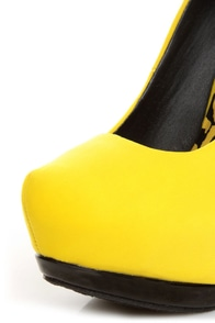 Dollhouse Dulce Yellow Lycra and Patent Platform Pumps at Lulus.com!