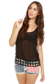 Lattice Entertain You Sheer Black Tank Top