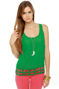 Lattice Entertain You Sheer Green Tank Top
