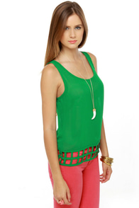 Lattice Entertain You Sheer Green Tank Top at Lulus.com!