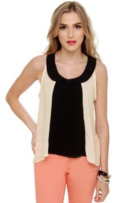 Piano Lounge Sleeveless Cream Top