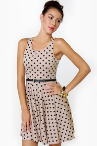 Happy Dots Beige Polka Dot Dress at Lulus.com!