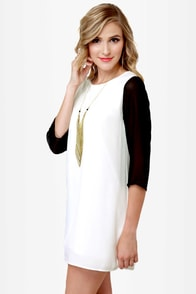 Au Pair Black and Ivory Shift Dress at Lulus.com!