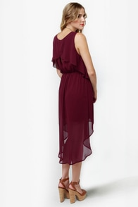 Tier-ing Up Burgundy Dress