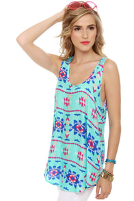 Sky's the Limit Turquoise Print Tunic Top at Lulus.com!