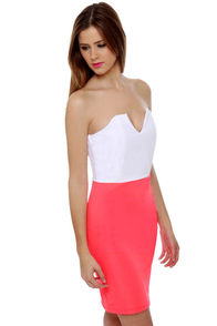 Dynamo Strapless White and Neon Pink Dress