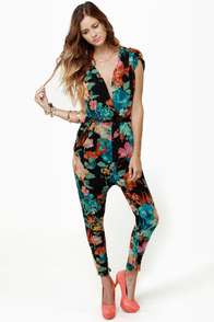Gypsy Junkies Ziggy Disco Floral Print Jumpsuit
