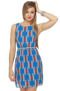 Kaleido-Scope Me Out Blue Print Dress
