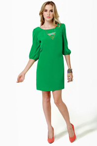 In My Prime-ary Green Shift Dress
